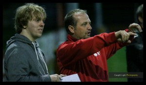 James (left) in conversation with Harrogate Railway manager Billy Miller. Photo: Caught Light Photography