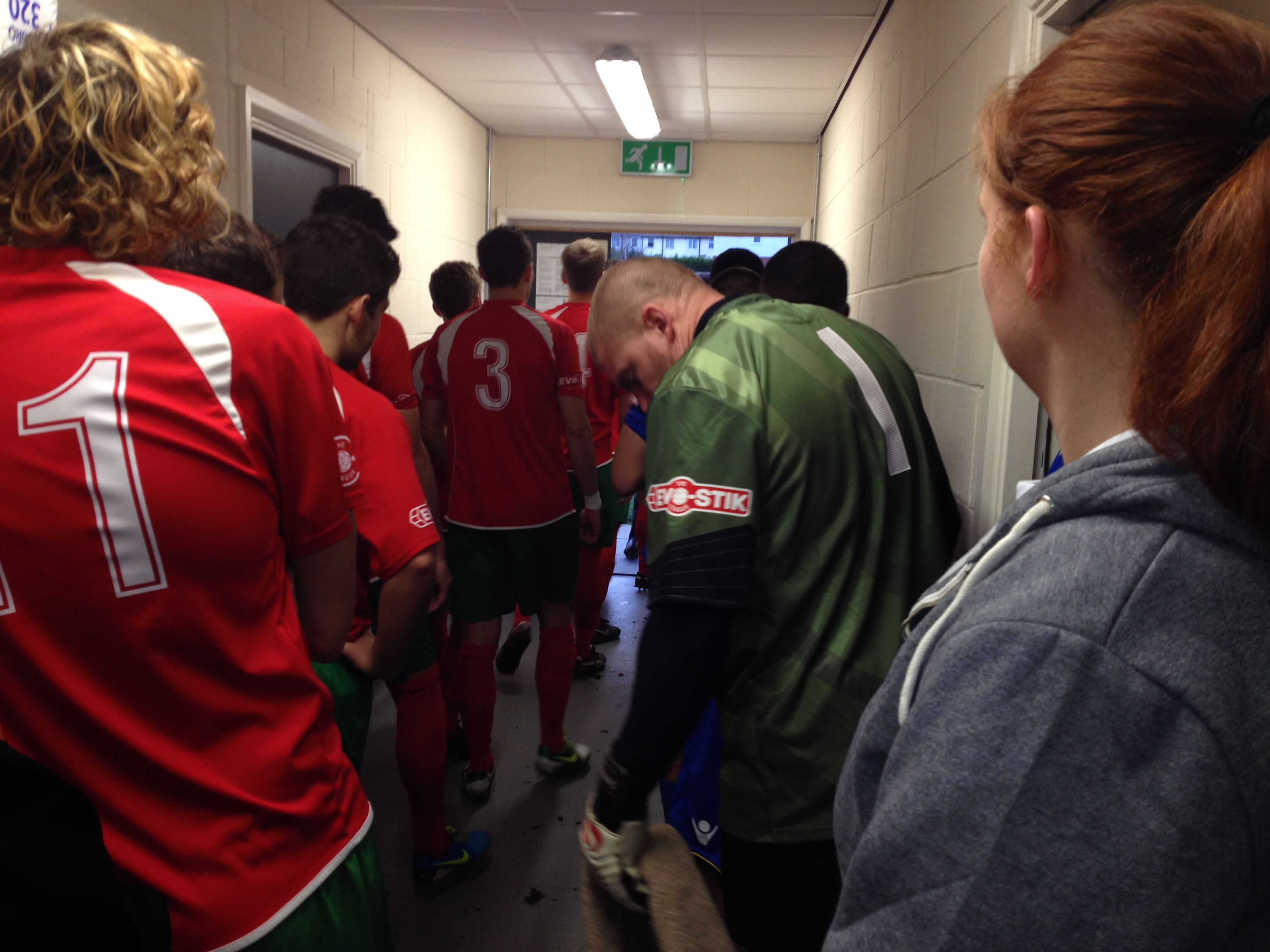 Ready for battle: The two teams in the tunnel