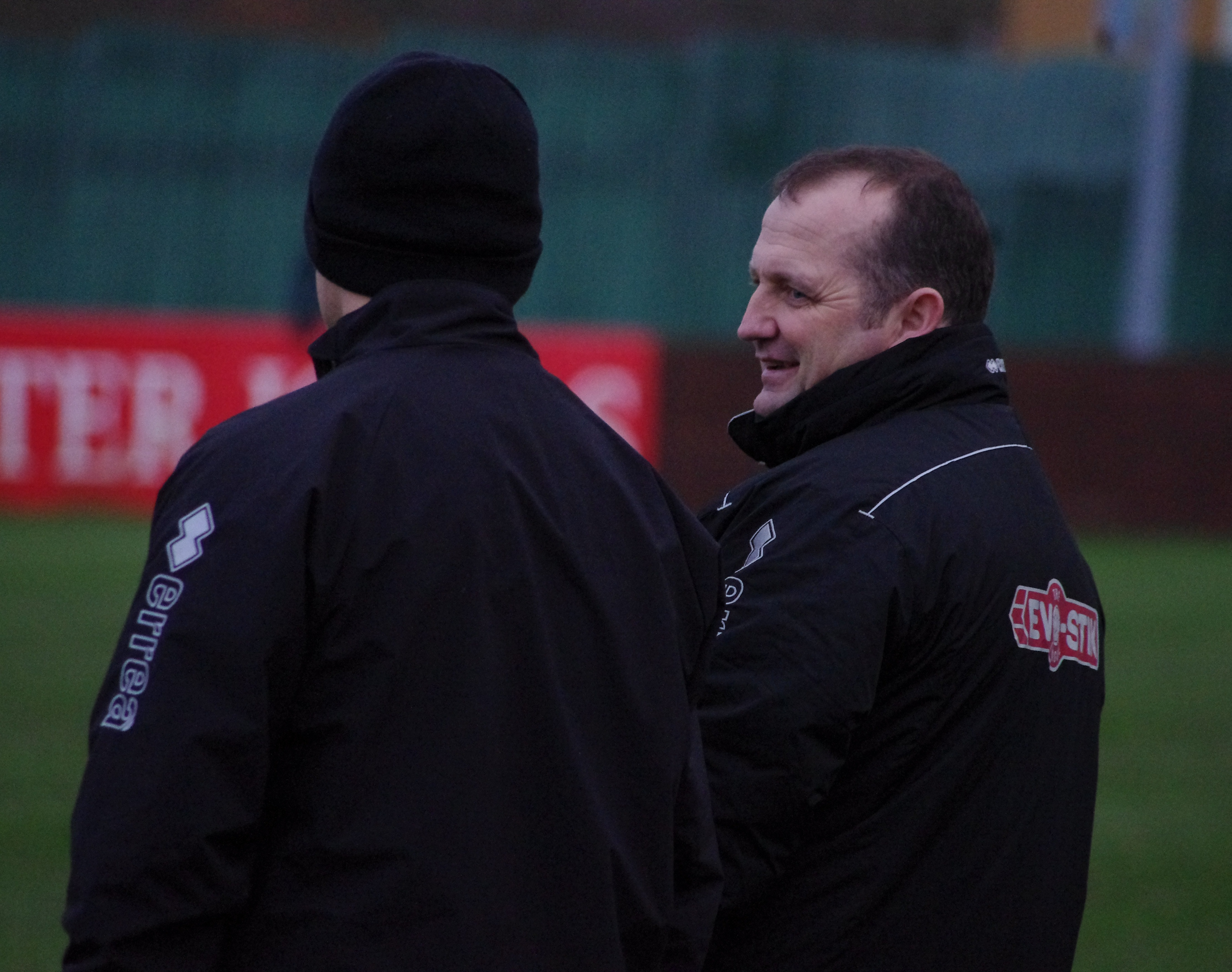 Billy Miller chats to his assistant Lee Ashforth during the 1-0 defeat to Ossett Town