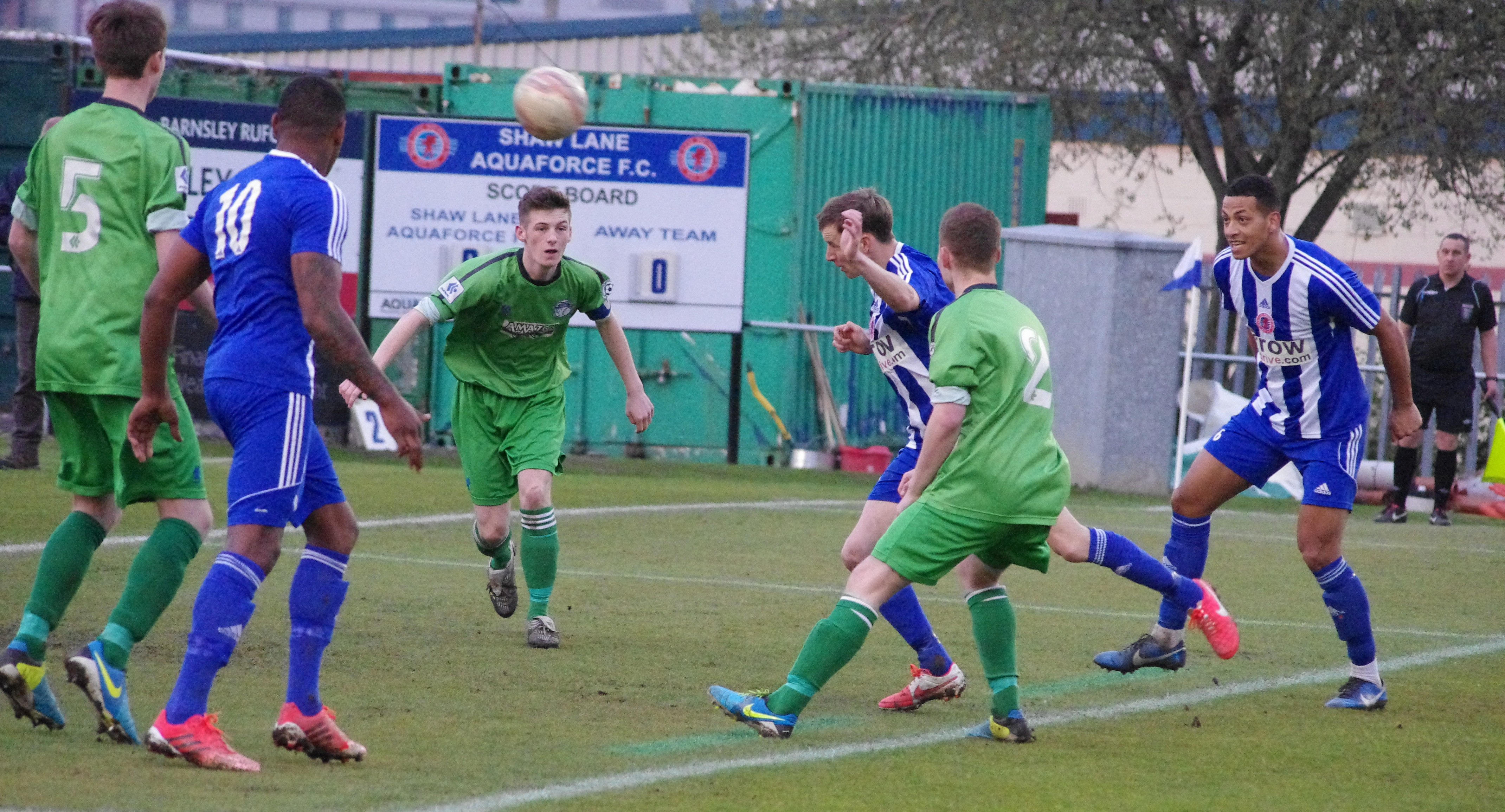Shane Kelsey heads Shaw Lane in front against Hemsworth Miners Welfare
