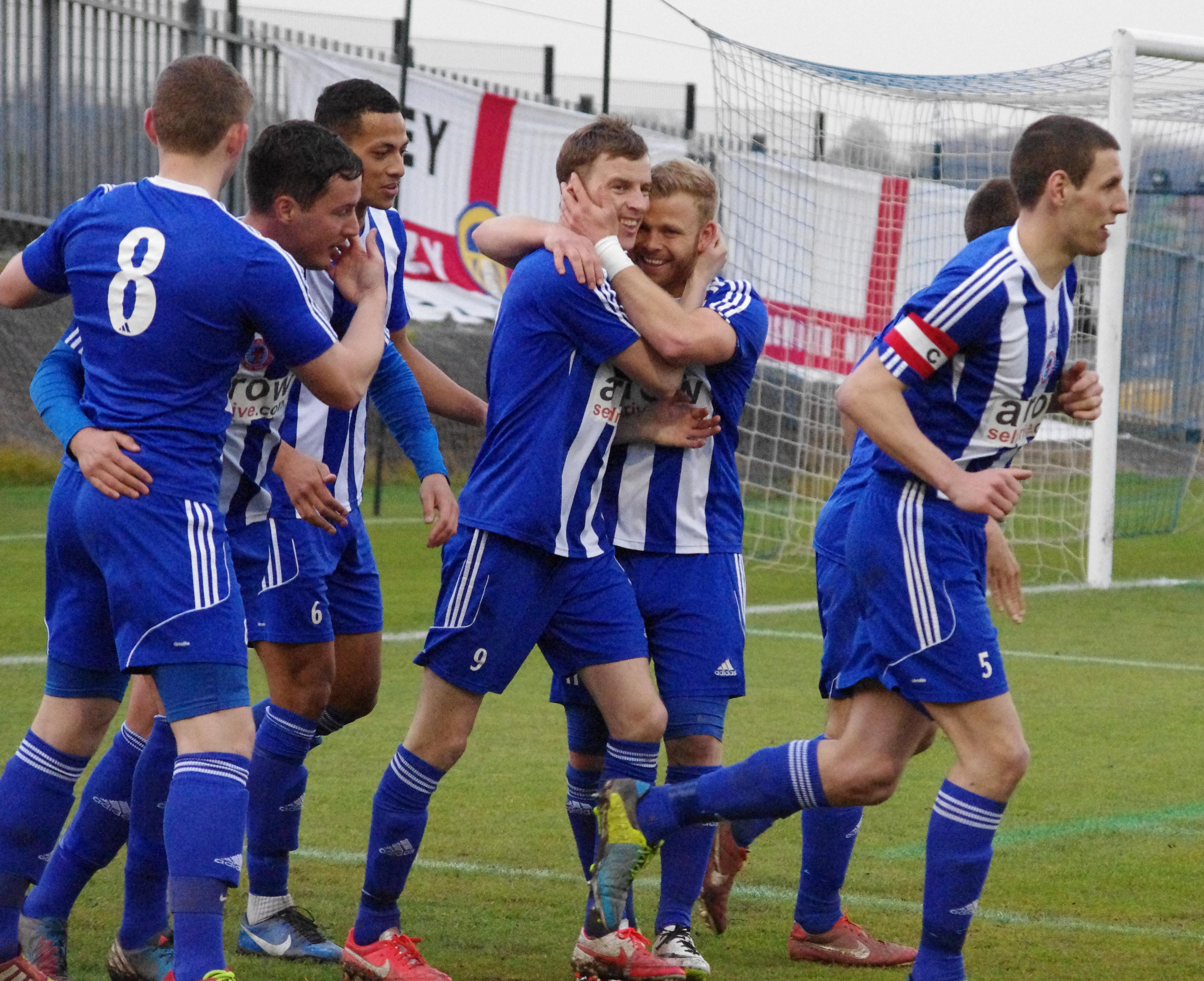 Shane Kelsey celebrates his goal