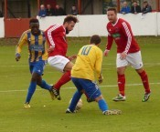 Action from Thackley's draw with Garforth Town. Picture: Ian Parker