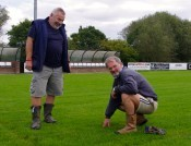 Welcome home: Roy Winfield looks down as Nostell Miners Welfare chairman-secretary Granville Marshall inspects the new surface at the Crofton Community Centre