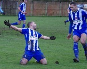 Ash Flynn celebrates scoring for Shaw Lane Aquaforce against AFC Emley. Flynn has returned to the Welfare Ground after signing this week