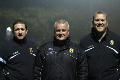 Welcome aboard: Handsworth Parramore chairman Pete Whitehead (centre) welcomes Peter Duffield (left) and Mick Godber (right)
