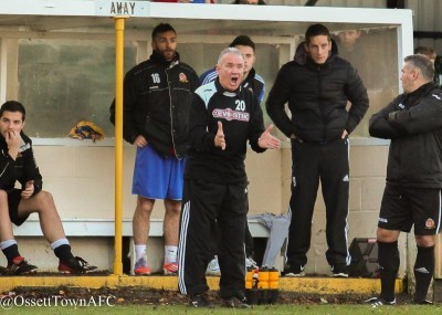 Ossett Town manager John Reed urging his side on during the 4-0 defeat to Harrogate Railway. Photo: Mark Gledhill