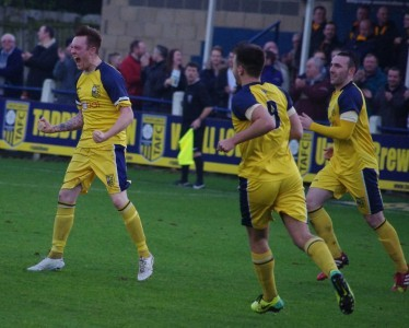 Liam Ormsby celebrates firing Tadcaster Albion ahead in the FA Vase second round victory over Morpeth Town