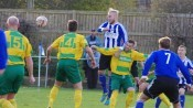 Lee Morris heading Shaw Lane into the lead in the first round tie with Runcorn Linnets