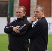 Harrogate Railway manager Billy Miller and his assistant Lee Ashforth (right) are not contemplating an assault on the play-offs just yet