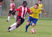 New AFC Emley signing Adam Podmore (right) in action for Stocksbridge in pre-season