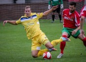 Farsley AFC and Gibraltar striker Adam Priestley (left) has pledged his future to the Throstle Nest club