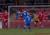 Aiden Savory heading Farsley AFC in front in the 2-1 win at Ossett Town. Picture: Mark Gledhill
