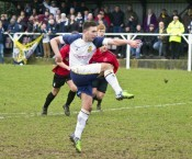 Calum Ward smashes Tadcaster Albion's equaliser home from the penalty spot. Picture: Ian Parker