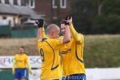 Hat-trick hero Brad Grayson (left) celebrates scoring in Stocksbridge's emphatic 5-0 win over Market Drayton Town. Picture: White Rose Photos