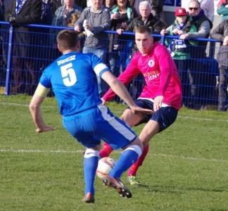 Goal-scorer Joe Thornton goes close in the first half