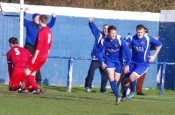 Big moment, big goal: Aaron Moxam celebrates scoring the winner for Pontefract in the 2-1 victory over rivals Clipstone