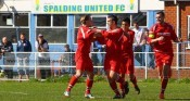 Stocksbridge celebrate Ryan Laight's goal at Spalding. Picture: whiterosephotos.co.uk