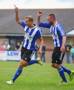 Adam Priestley celebrates his goal for Shaw Lane Aquaforce. Picture: whiterosephotos.co.uk