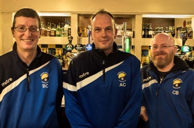 Garforth Town manager Adrian Costello (centre) with chairman Brian Close (left) and director Craig Bannister (right). Picture: Chris Mather