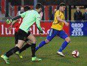 Stocksbridge striker Scott Ruthven pounces to score after a mix-up in Sheffield's defence during April. Picture: Ian Revitt
