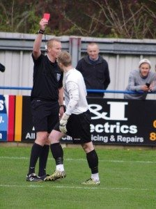 Archie Sneath receives his red card