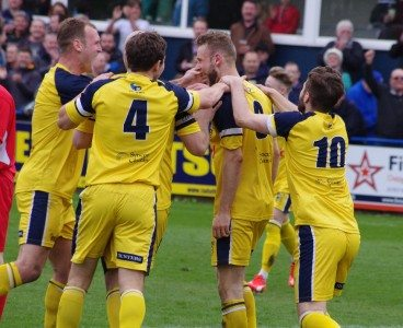 Tadcaster celebrate Corner's second goal