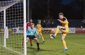 Josh Greening scores the winner for Tadcaster. Picture: Ian Parker