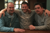 Hallam manager Ryan Hindley (centre) with Stuart Lowe (left) and Stephen Whitehead (right)