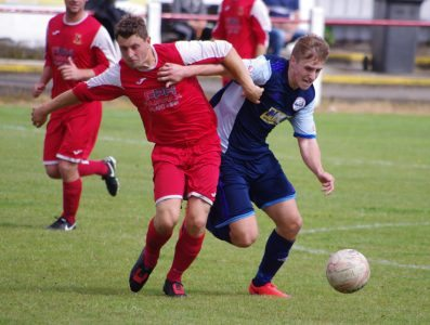 Lewis Bemrose (right) on the attack for Goole during the win at Selby in pre-season