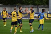 The Greening brothers celebrate Josh's early goal for Tadcaster. Picture: Matthew Appleby
